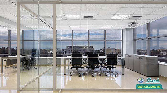 vách kính cường lực cho văn phòng